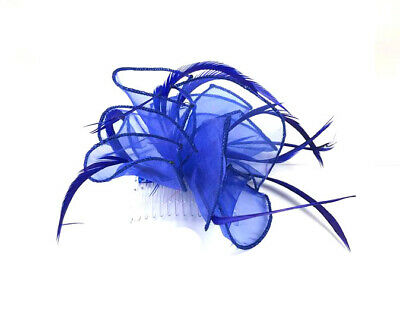 Royal Blue Feather Comb Fascinator Ladies Day Races Ascot Weddings