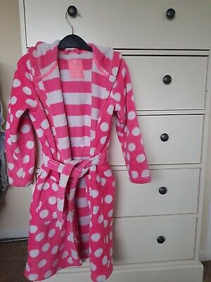 Girls TU dressing gown pink and white stripes and spots age 7-8