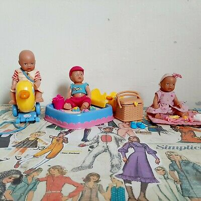 Zapf Creation Baby Born Miniworld  Sandpit Picnic Accessories and 3 Doll  Lot