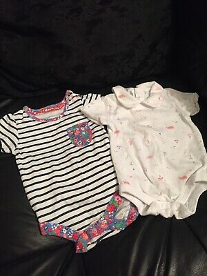 Two Baby Girls Tu White/Pink Vests Age 0-3 Months