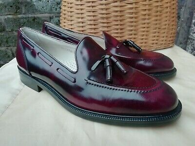 Vtg 80s Roland Cartier Genuine Leather Burgundy Shoes Size 9.5 10 EU 44 Unworn.