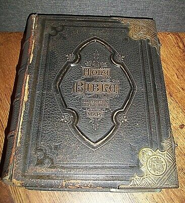 Antique 19th Century Black Leather Hardback Bible with Brass Clasps & Corners