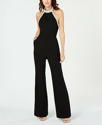Adrianna Papell Beaded-Halter Jumpsuit MSRP $229 Size 14 # 9NB 197 NEW