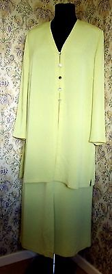 Vintage two piece suit by JACQUES VERT Size 18 Skirt & jacket Light green yellow