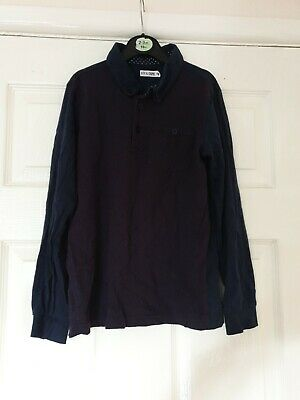 Boys Navy And Red Longsleeve Polo Shirt Age 8-9 Years M&CO