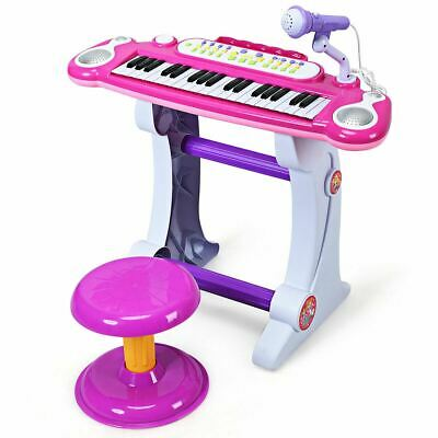 Durable Pink and White Electronic Keyboard Children's Toy Piano w/Stool