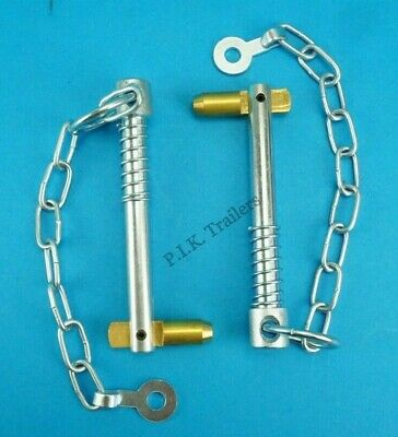 2 x Swivel Cotter Pin & Chain 12.5mm x 102mm Spring Loaded - Trailer