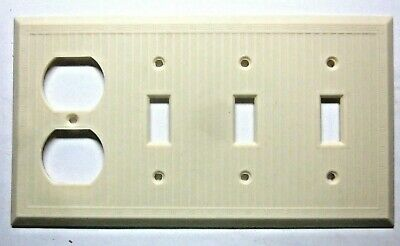 Bryant 4 Gang Dashed Lines Beige Bakelite Combo Switch Outlet Wall Cover Plate 1