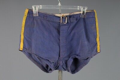 Vtg Men's 1940s Cotton Blue & Gold Athletic Shorts sz 32 Medium 40s