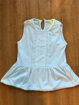 Mini Boden White Eyelet Lace Trimmed Top Girl's Size 7-8