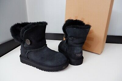 Ugg Black Boots Uk 13 Size Eu31 Boxed Bailey Button Boxed  Sheepskin Lined