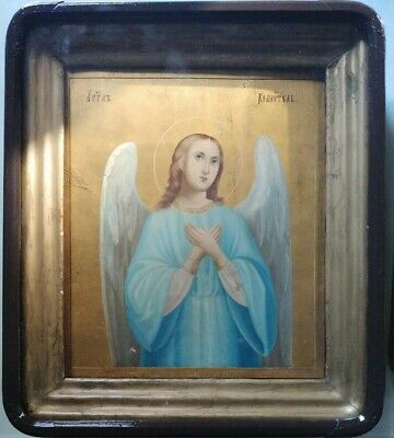 ANTIQUE 1860s HAND PAINTED RUSSIAN ICON OF GUARDIAN ANGEL & KIOT