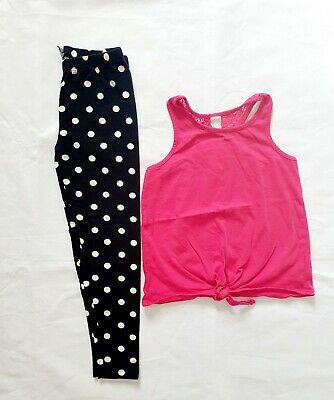 TU Girls Pink Top And Leggings Outfit Set  age 8 Years