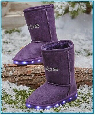 Toddler Light Up Shoes Kids Girls Winter Boots Purple Faux Suede Warm Fashion