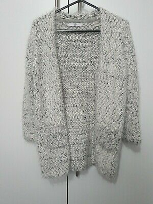 Marks And Spencer Girls Super soft Grey / White Cardigan Age 10-11 Years