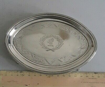 NICE, CRESTED, GEORGIAN ANTIQUE SOLID SILVER TEA POT STAND.  113gms.  LON. 1801.