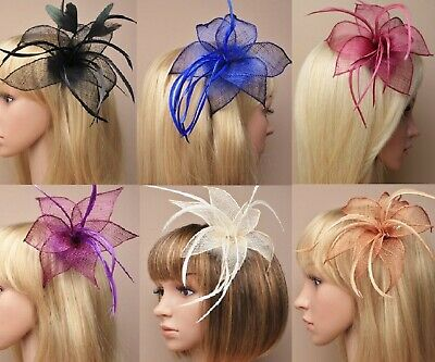 Wedding Fascinator Mesh Flower & Feathers Hair Clip with Brooch Pin