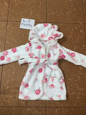 Girls Fluffy Dressing Gown Age 6-9 Months Baby