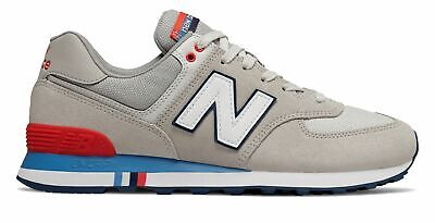 New Balance Men's 574 Summer Shore Shoes Grey with Red
