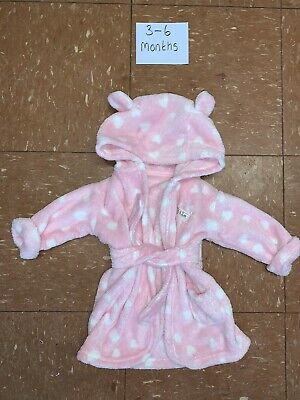 Girls Fluffy Dressing Gown Age 3-6 Months