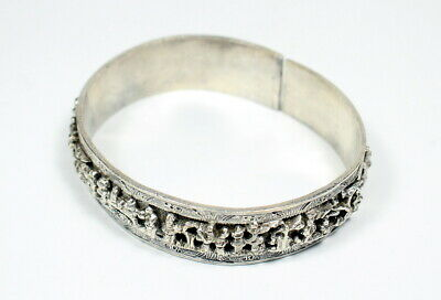Fine Antique Chinese Silver Cuff Bracelet W/ Kirin Phoenix & Figures Marked