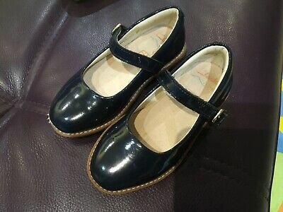 GIRLS CLARKS NAVY BLUE PATENT LEATHER BUCKLE SMART FLAT SHOES SIZE 7 F Infant