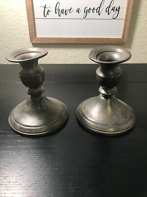 Pair of Vintage Web Pewter Weighted Candlestick Holders Rare Unique