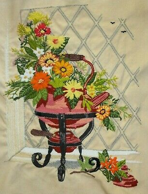 """Paragon """"Copper Kettle Floral"""" Teapot Crewel Embroidery Completed Finished"""