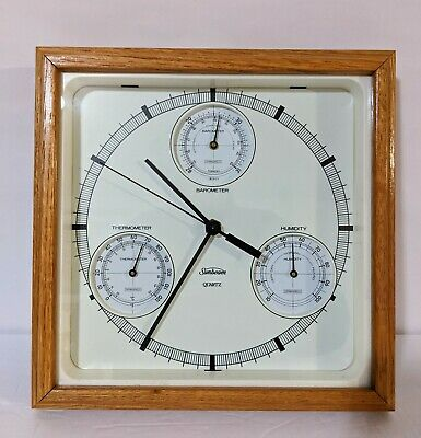 Vintage Sunbeam Quartz Clock Thermometer Barometer Weather Station