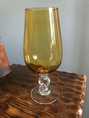 Vintage Amber Glass with crystal cut like ball
