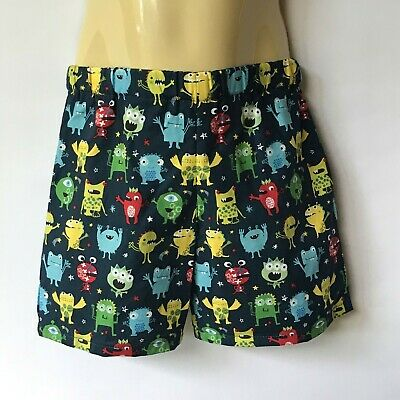 Blue monster print shorts - kids sizes 0 to 5 avail - halloween boy baby toddler