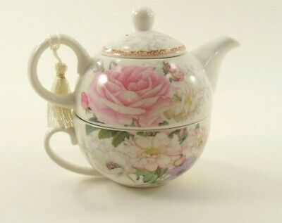 Porcelain Rose Teapot Set, Tea for One, by Delton Products Collectable Flowers