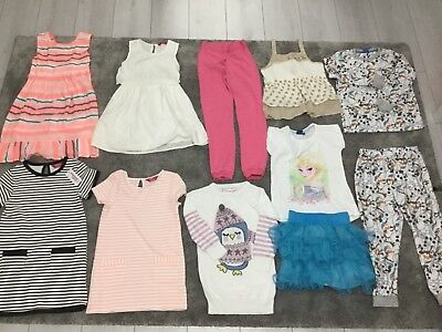 Job Lot Bundle Of Girls Dresses Joggers Jumper Skirt T-Shirt Top Pjamas Age 6-7