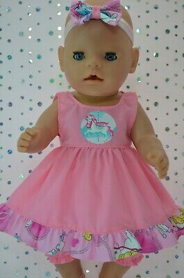 """Play n Wear Dolls Clothes For 17"""" Baby Born Doll PINK DRESS~BLOOMERS~HEADBAND"""