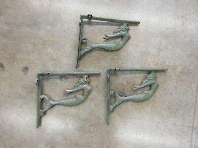 Set of 3 Green Cast Iron Mermaid Shelf Brackets
