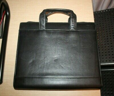 TUMI Black Leather Attache Case Closed Zipper Folder Document Holder Organizer