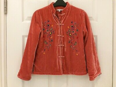 Girls' French Designer Peach Pink Crushed Velvet Jacket Size 130, approx age 7-8