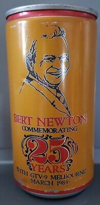 ABBOTS LAGER BEER CAN 375ml Bert Newton 25 yrs GTV 9 MARCH 1984