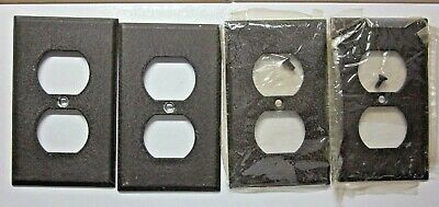 Lot 4 Brown Steel Paintable Duplex Wall Outlet Cover Plates Vintage