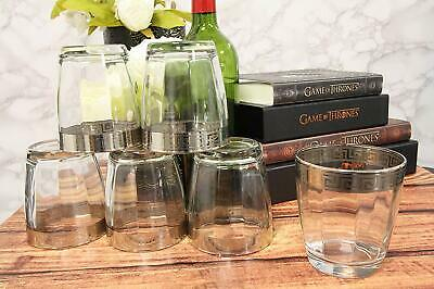 Ebros Set of 6 Double Old Fashioned Tumbler Glass With Greek Rim Accent 12oz