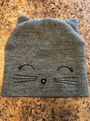 EUC Justice Girls Kitty Cat Beanie Hat -One Size, Gray