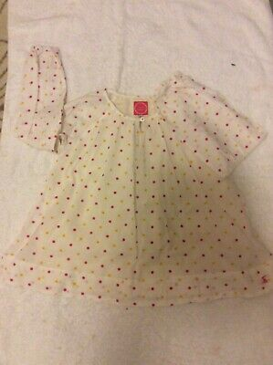 Cream Joules blouse with pink and yellow dots age 9-10