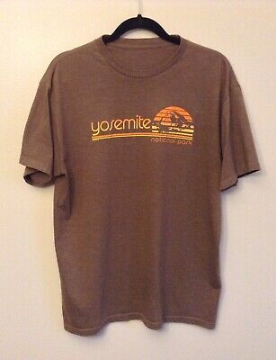 Techstyles Yosemite National Park Brown Tee Shirt 70s Style Size Large