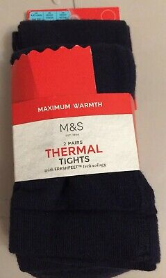 BNWT M&S 2 PAIRS , 'Freshfeet' NAVY THERMAL  GIRLS Tights 4-5 YEARS