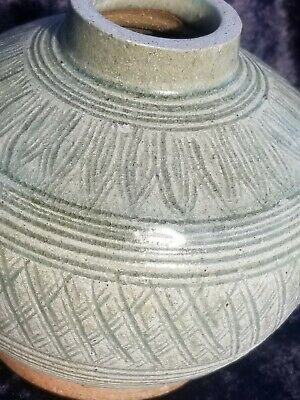 Old Asian Celadon Pottery Jar Korean Buncheong or Thai Sawankhalok