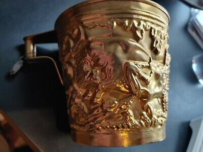 Rare Ancient Greek Mycenaean Art Replica Gold Bull Cretan Cup Hand Made Greece