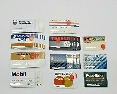 VINTAGE CREDIT CARDS Lot of 46 expired Visa MasterCard Gas Airline 1970's 1980's