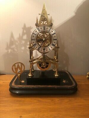 Antique Fusee Skeleton/bracket Clock In Glass Dome