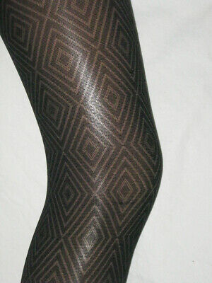 Girls Black Tights Diamond Pattern Opaque. Age 9-11