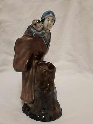 Antique Chinese Shiwan? Pottery Figurine Mother With Baby